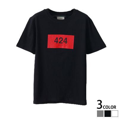 ★★30%OFF SALE★★オシャレファッションの完成!424ナンバリングフレーム半袖Tシャツ(GREY,BLACK,WHITE)