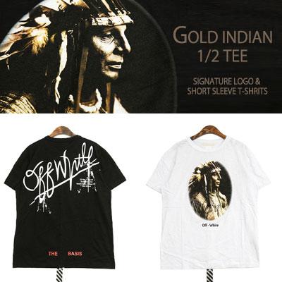 ゴールドインディアンシグネチャーロゴケリーグラフィー半袖Tシャツ(WHITE,BLACK)