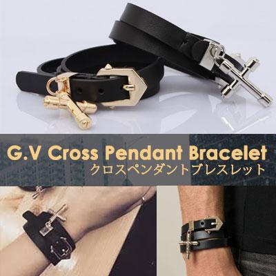 定番のおしゃれなファッションアイテム!クロスペンダントブレスレット(GOLD,SILVER)