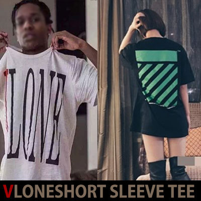 KANYE WEST STYLE!シンプルでも目立つVLONEロゴ入り半袖Tシャツ(WHITE,BLACK)