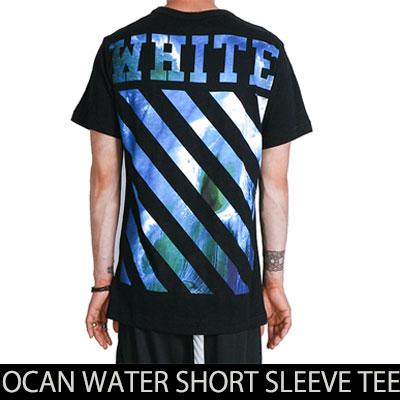 夏の海を思わせるブルーカラープリント!オーシャンウォーターショートスリーブTシャツ