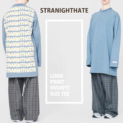 爽やかな空色!ストレートヘイトロゴオーバーフィットロングTシャツ/STRAIGHTHATE LOGO OVER FIT LONG T-SHIRTS