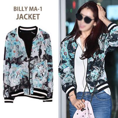 人気の韓国女優パク・シンヘ空港ファッション!シースルーなビリープリントMA-1ジャケット/ブルゾン/(S,M,L)