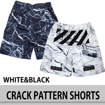 [OFF STYLE!]ストリートファッション! クラックパターンショーツ/半ズボン/ユニセックス/SHORTS/UNISEX