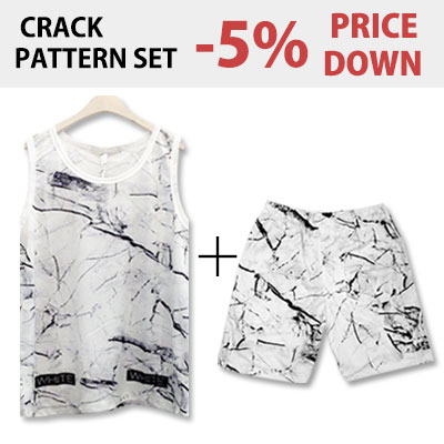 [SET 5% OFF] OFF STYLE! CRACK PATTERN SET! (WHITE,BLACK) /半ズボン/セット