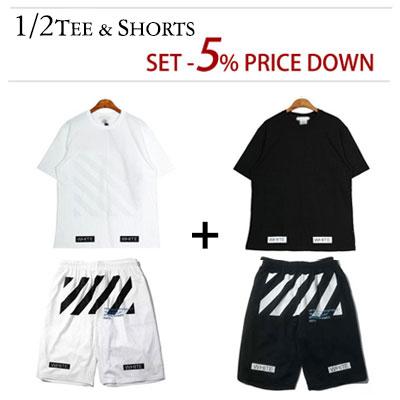 1/2 TEE & SHORTS [SET 5% OFF] OFF STYLE! ホワイトロゴブルータイポ半袖Tシャツ&半ズボン(WHITE,BLACK)