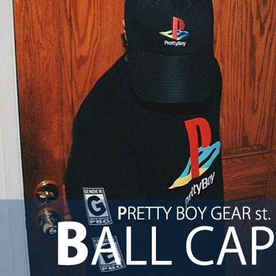 正面の刺繍がCHARMING POINT! PRETTY BOY GEAR st. BALL CAP/キャップ