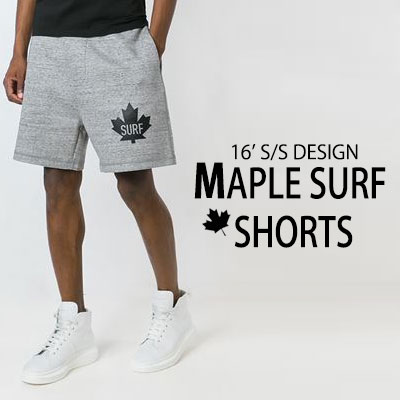 16'S/S DESIGN! MAPLE LOGO POINT! MAPLE SURF SHORTS(BLACK,GRAY)/ハーフパンツ