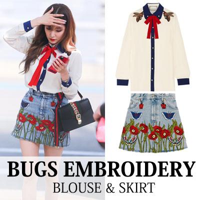 [少女時代 ティファニー 空港ファッション]バックス刺繍ブラウス&スカート