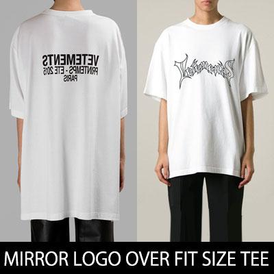 ★男女兼用★VETミラーロゴオーバーサイズフィットロングTシャツ(WHITE,BLACK)