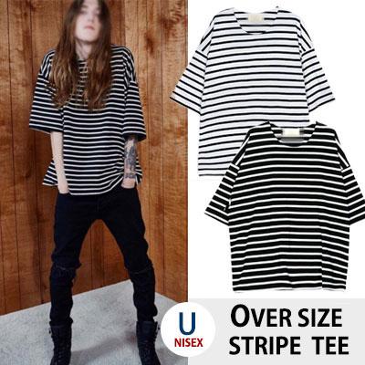 オーバーサイズフィットシンプルストライプTシャツ/ヘビーコットン/レイヤードファッションにぴったり!(WHITE,BLACK)