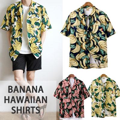 夏のスタイリングを楽しもう!バナナハワイアンシャツ(NAVY,IVORY,PINK)