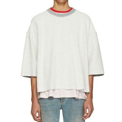 オーバーサイズフィットリヴァーシブルショートスリーブスウェットシャツ(BLACK,WHITE)