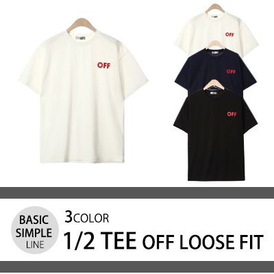 [BASIC SIMPLE LINE] OFF ルーズ・フィット T-SHIRTS (3COLOR)/半袖Tシャツ
