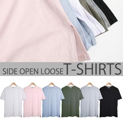 [BASIC SIMPLE LINE] サイドオープンルーズT-SHIRTS(6COLOR)/半袖Tシャツ