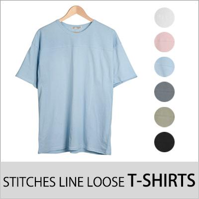 [BASIC SIMPLE LINE] ステッチラインルーズT-SHIRTS (6COLOR)
