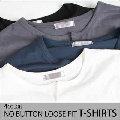 [BASIC SIMPLE LINE]ノーボタンルーズフィットT-SHIRTS(4COLOR)/半袖Tシャツ