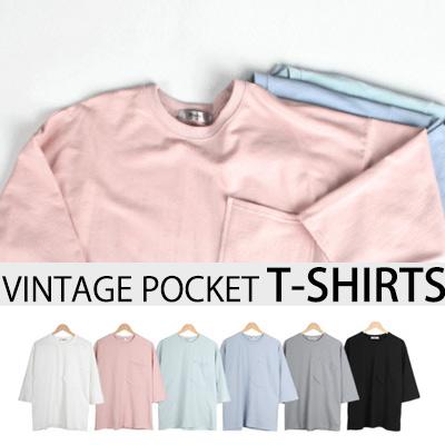 [BASIC SIMPLE LINE]ヴィンテージポケットT-SHIRTS(6COLOR)/半袖Tシャツ