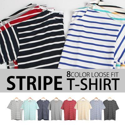 [BASIC SIMPLE LINE] 豊かなサイズ、色! ストライプT-SHIRT/半袖Tシャツ(8COLOR)