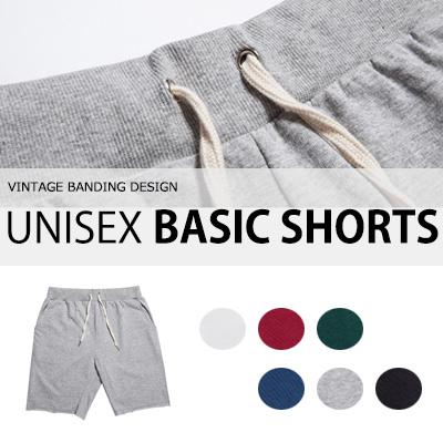 [BASIC SIMPLE LINE] ヴィンテージバンディングデザイン! UNISEX BASIC SHORTS/ハーフパンツ(6COLOR)