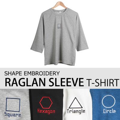 [BASIC SIMPLE LINE] シェイプ刺繍ナグラン7分袖Tシャツ(4COLOR)