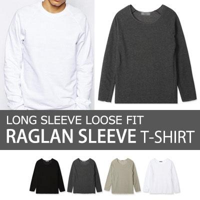 [BASIC SIMPLE LINE] ロングスリーブルーズフィットナグランTシャツ(4COLOR)