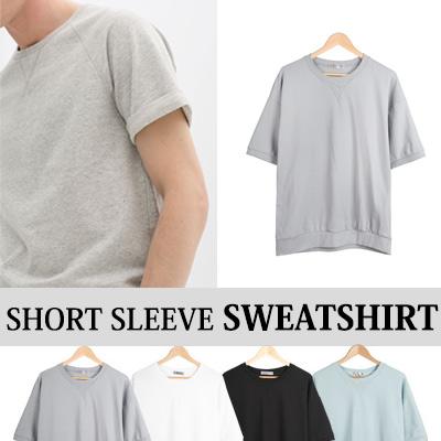 [BASIC SIMPLE LINE] ショートスリーブスウェットシャツ(4COLOR)