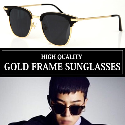 [G-DRAGON, 韓国俳優 GONG YOO, パク・ヘジン スタイル]ハイクオリティ!ゴールドフレームサングラス