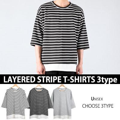 [BASIC SIMPLE LINE]レイヤードストライプT-SHIRTS(3TYPE)/半袖Tシャツ