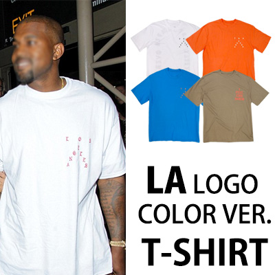 [カニエ・ウェストスタイル]LAロゴ カラーバージョンのTシャツ/半袖シャツ