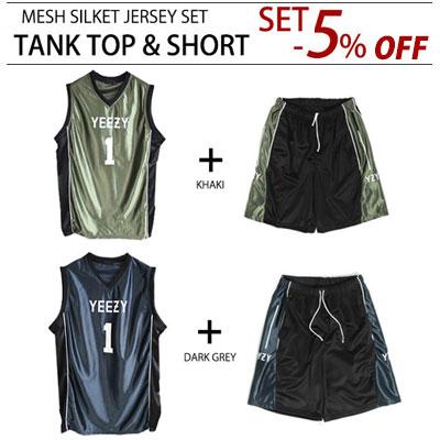 [SET -5%]シルケットスタイルでユニーク!バスケットボールジャージータンクトップ&ショーツ(DARK GREY,KHAKI)