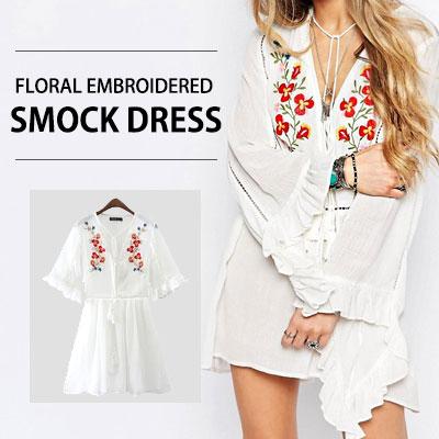 愛らしいフラワー刺繍がポイント!フローラル刺繍ストックドレス