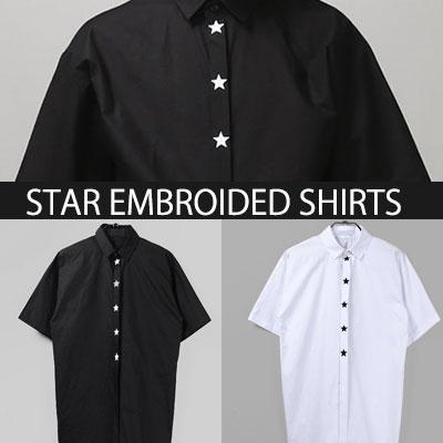 ★ボタンの上を覆う星が素敵なシャツ!スター刺繍半袖シャツ☆