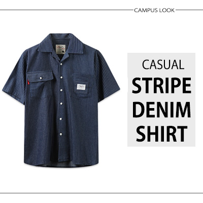 [BASIC CAMPUS LOOK]カジュアルストライプデニムシャツ