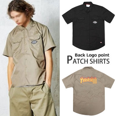 ファイアーバックロゴ半袖シャツ(BLACK,BEIGE)ワークシャツ/男女兼用/スケートボードファッション