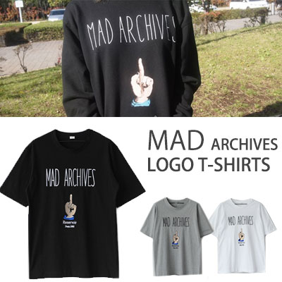 STREET FASHION STYLE!フィンガープリントMAD ARCHIVESロゴ半袖Tシャツ(BLACK,WHITE,GREY)