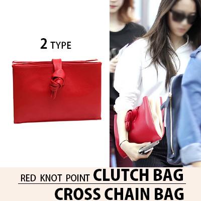 [K-POP アイドル f(x) クリスタル スタイル]レッドノットポイントクラッチバッグ,クロスチェーンバッグ(2タイプ)