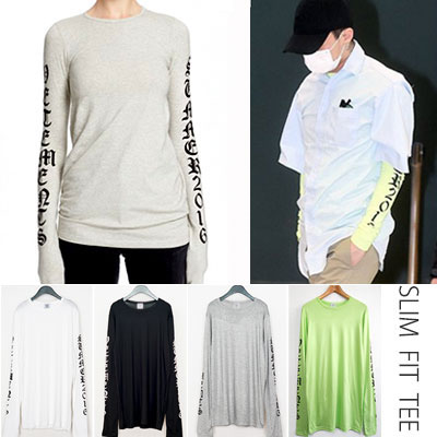 G-DRAGON,2NE1 SANDARA STYLE! スリムフィットアンティークロゴプリントロングスリーブTシャツ(BLACK,GREY,WHITE,GREEN)