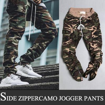 セレブファッションスタイル!サイドジッパーカモジョガーパンツ