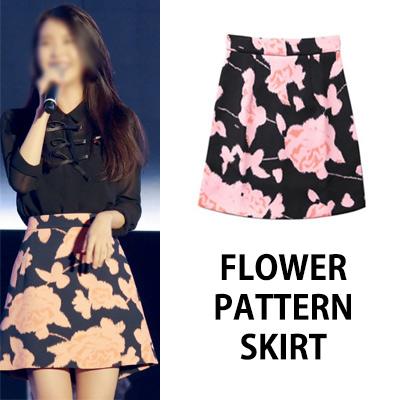 [K-POP IDOL IU STYLE]フラワーパターンスカート