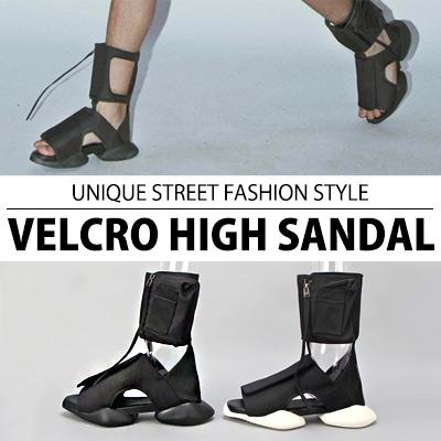 [25.5~28.0cm]ユニークストリートファッションスタイル!ベルクロハイサンダル