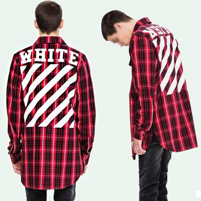 OFF STYLE!レッドチェックアンドホワイトロゴフランネルシャツ
