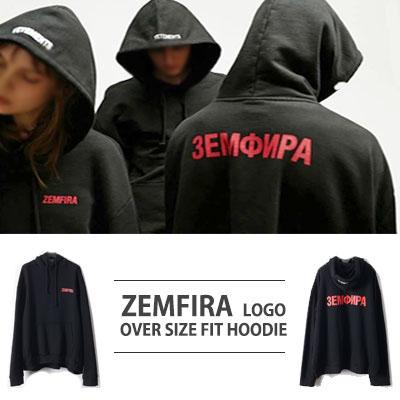 シンプルなブラックパーカー!ZEMFIRAロゴオーバーサイズフィットフードパーカ