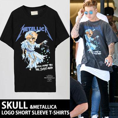 ロックなスカルプリントが特徴的な!スカルアンドメタリカロゴ半袖Tシャツ