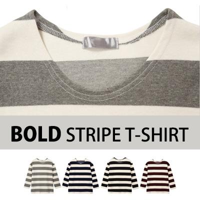 [BASIC SIMPLE LINE]ボールドストライプのT - シャツ