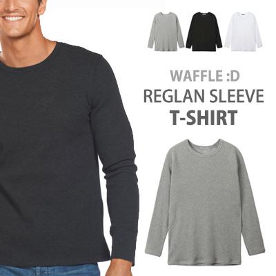 [BASIC SIMPLE LINE]ワッフル:D ナグランスリーブティー - シャツ