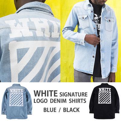 筆で描いたようなバックのロゴがポイント!ホワイトシグネチャーロゴデニムシャツ