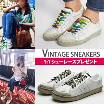 G-DRAGON2NE1 SANDARA韓国俳優ソン・ジュンギスタイル!ヴィンテージスニーカー/レインボーとカモタイプの2種類のシューレースプレゼント/平ヒモ