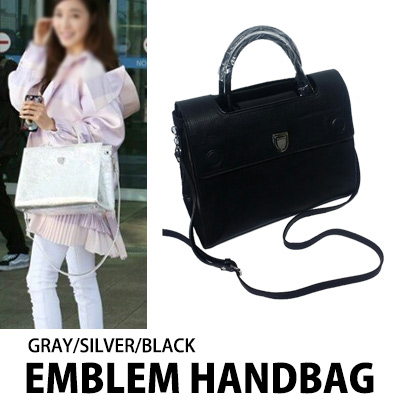 [K-POP アイドル少女時代のティファニースタイル]エンブレムハンドバッグ(GRAY/ SILVER/ BLACK)