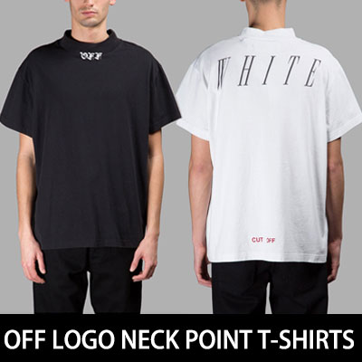 シンプルなブラック&ホワイトカラー!オフロゴネックポイント半袖Tシャツ